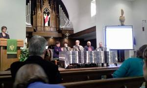 The bishops answer questions.  Courtesy of Pastor Julianne Smith
