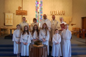The Pastors and confirmands at the Lutheran Church of the Good Shepherd, Brooklyn, Ohio, April 26, 2015.