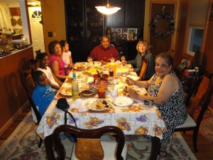 A portion of our family at the Thanksgiving table.