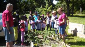 Volunteers teach neighborhood youngsters the art of gardening.