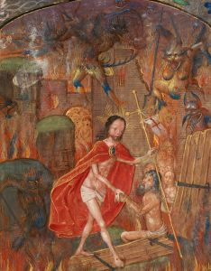 Harrowing of hell. Christ leads Adam by the hand. (c. 1504) -- National Library of Wales