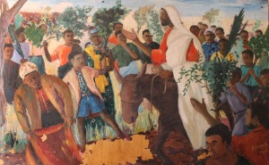 Zambian artist Emmanuel Nsama depicts the Triumphal Entry into Jerusalem.