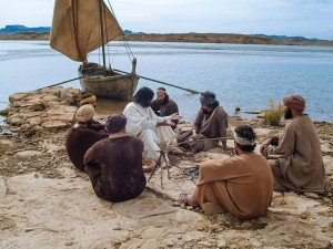 Jesus on the shore with the disciples