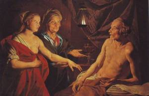 Sarah Leading Hagar to Abraham, Matthias Stomer, (fl. 1615–1649)